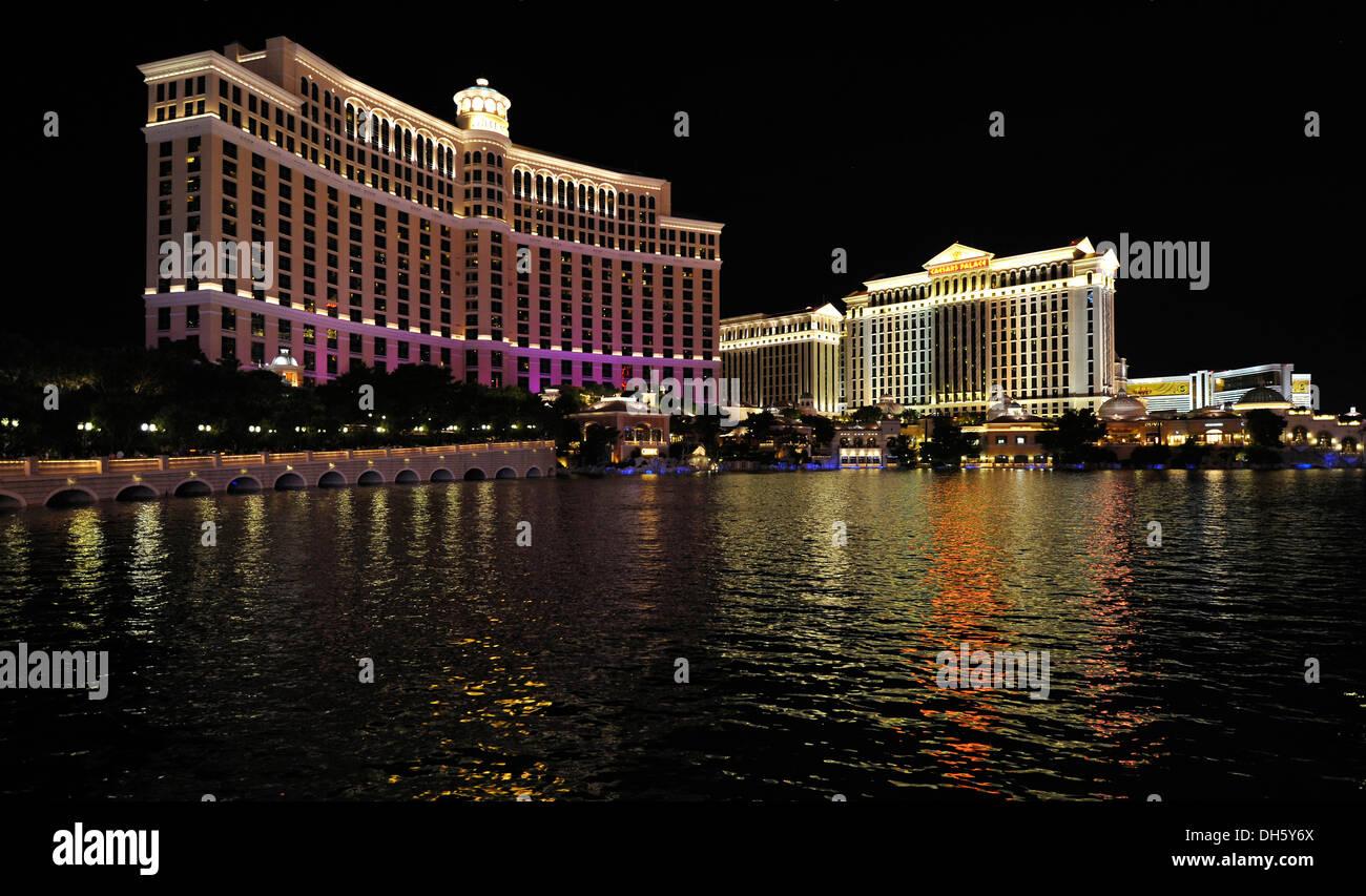Night Scene Luxury Hotels Casinos Bellagio Caesars Palace The