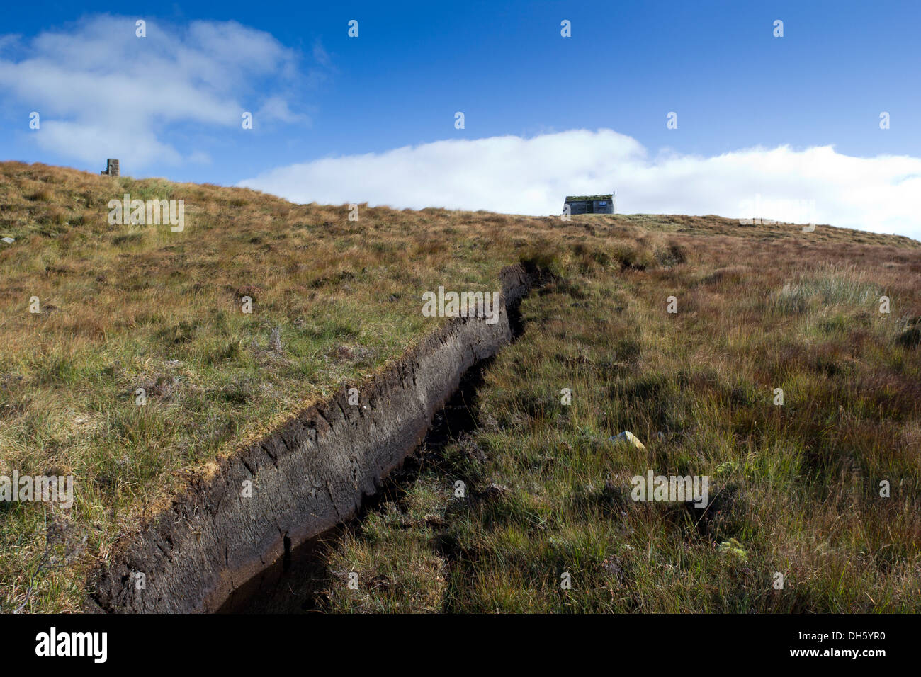 Peat cutting and shieling on the pentland road near Achmore Isle of Lewis Western Isles Scotland UK - Stock Image