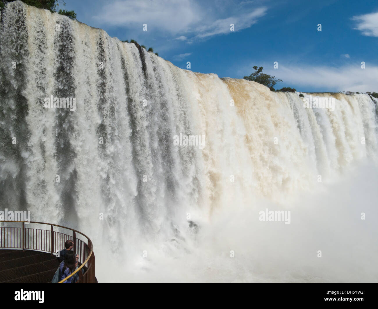 Falls Cascading by the Viewing Platform at Iguacu National Park Brazil - Stock Image