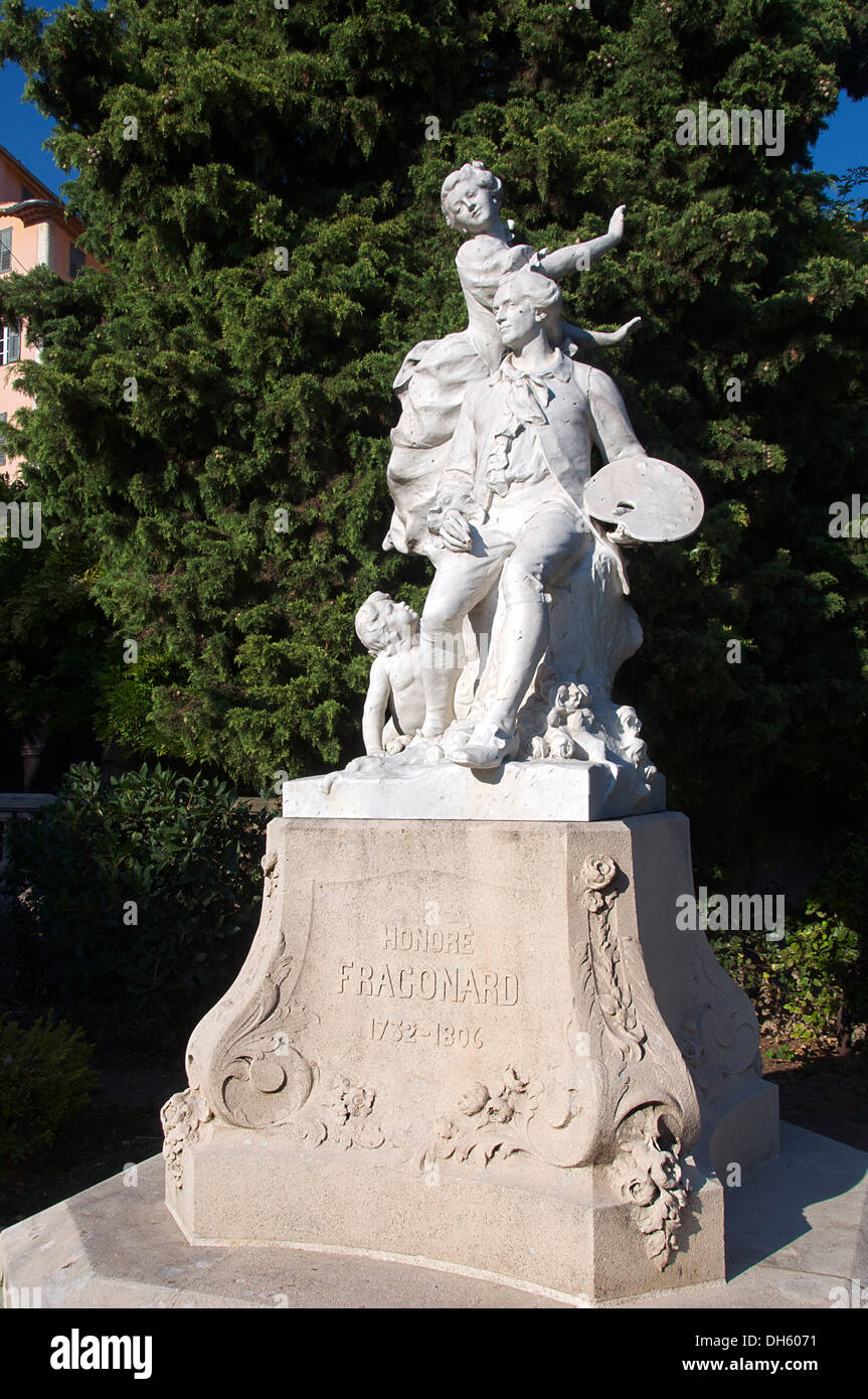 Statue of Honore Fragonard famous vet and anatomist Grasse Provence France - Stock Image