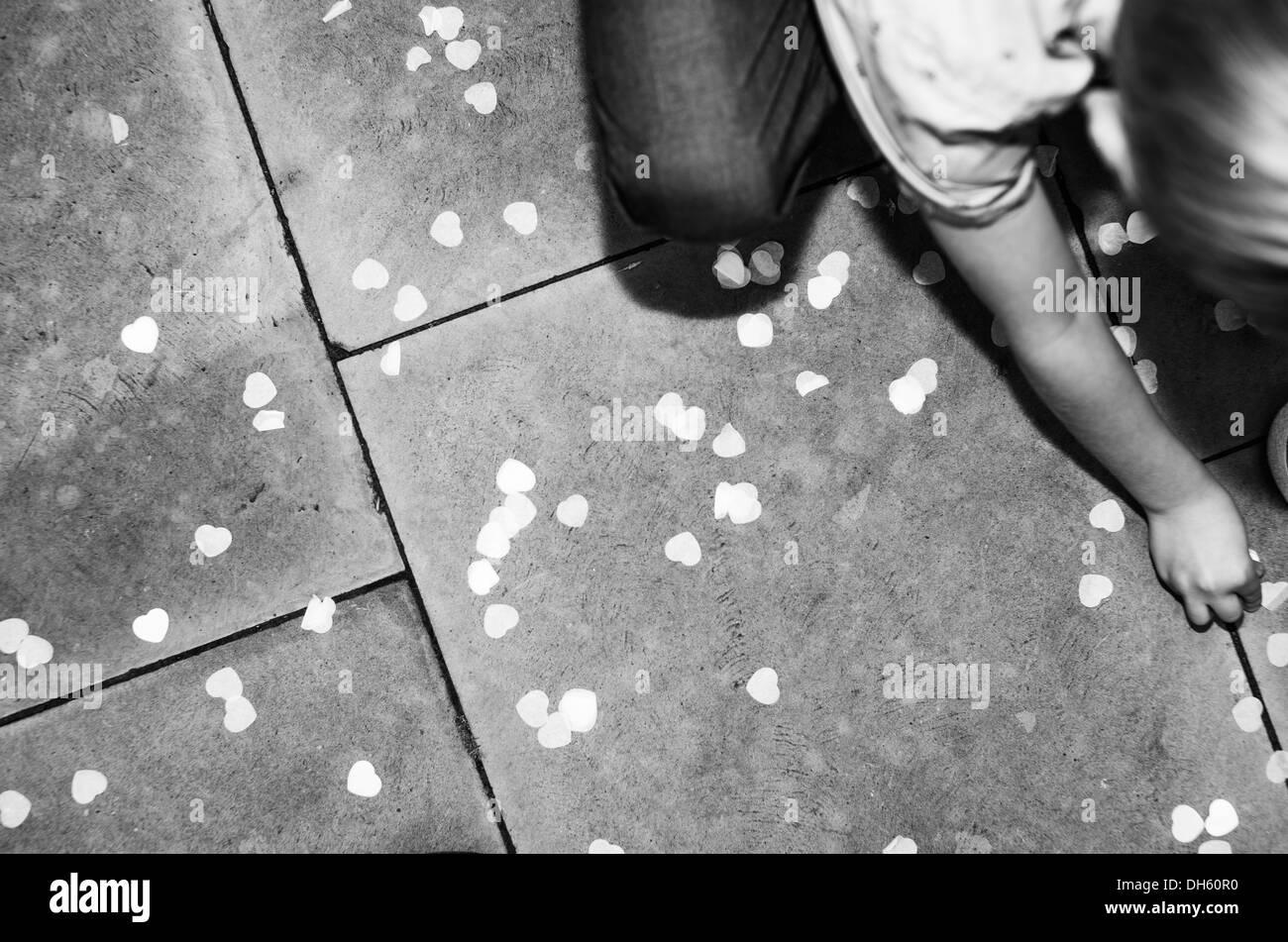 Wedding reception confetti - Stock Image