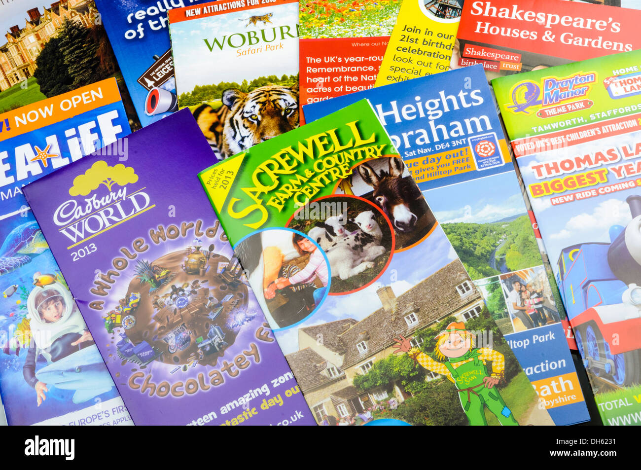 Tourist brochures for the midlands of England including Cadbury World, Woburn Safari Park - Stock Image