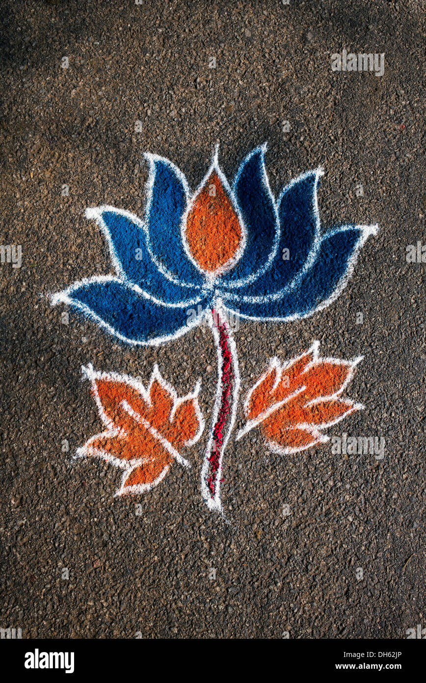 Rangoli Lotus Flower Stock Photos Rangoli Lotus Flower Stock