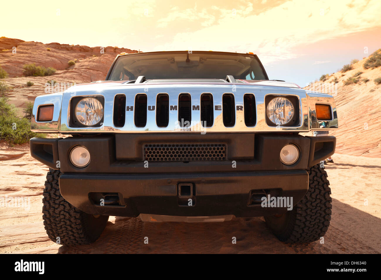 Radiator grill of a Hummer SUV 4WD, Page, Arizona, Southwestern USA, USA, PublicGround - Stock Image