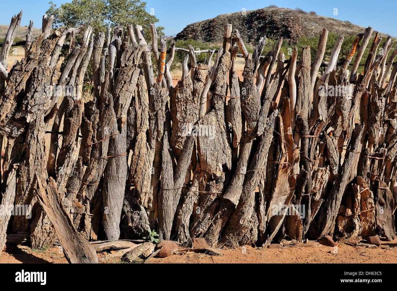 Fence of a kraal where the Ovahimba keep their cattle - Stock Image