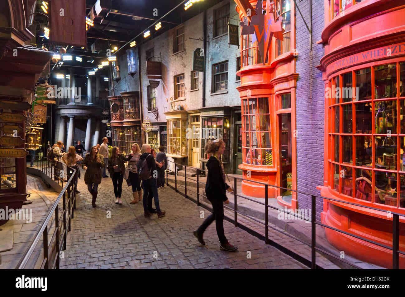 Interior scenes at Diagon Alley at the Harry Potter World Warner Bros Studio Tour Leavesden Watford London UK GB - Stock Image