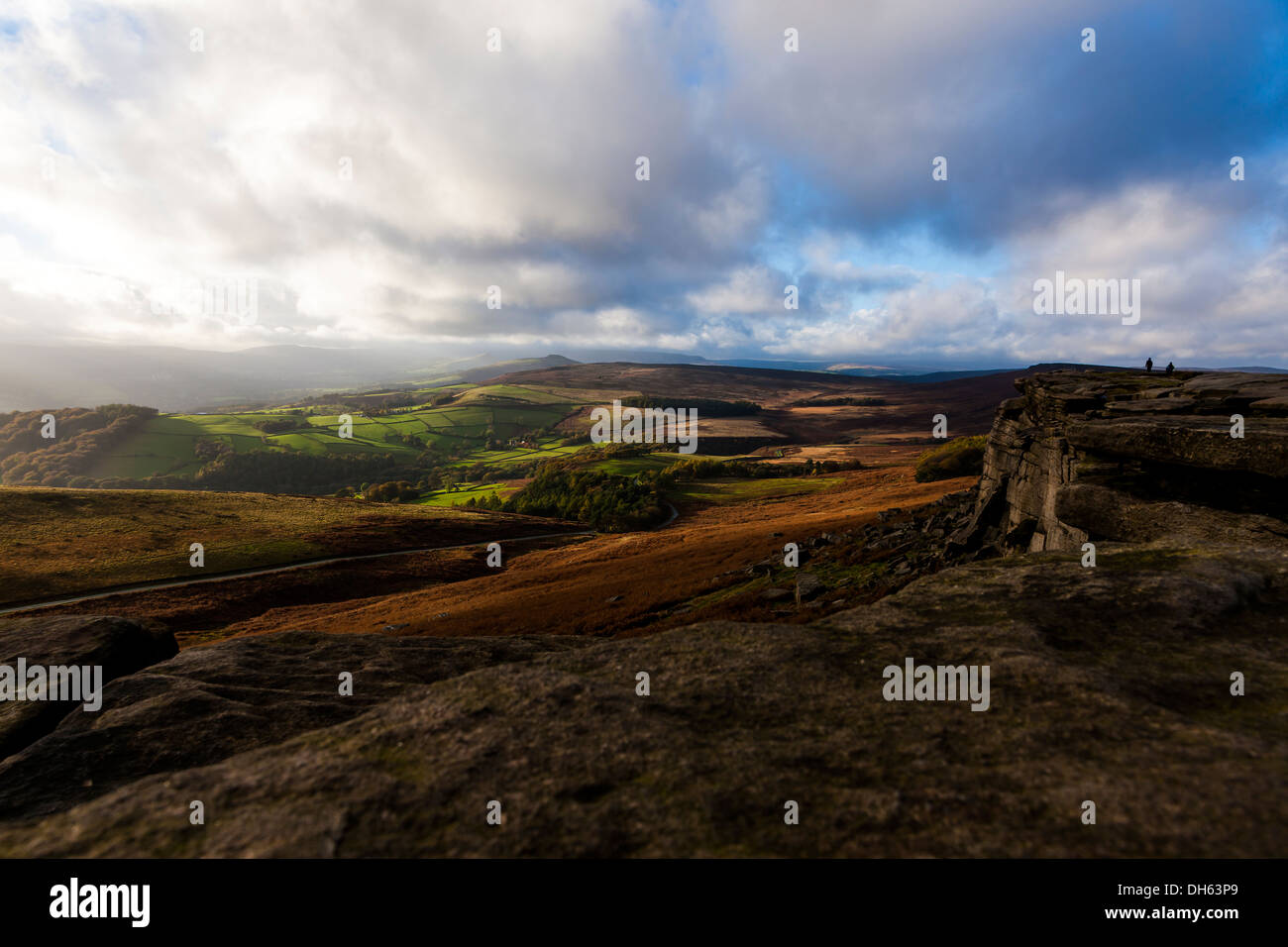 Peak District  Derbyshire Stanage Edge England UK - Stock Image