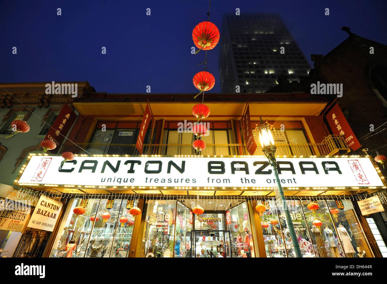 Cantonese Bazar and paper lanterns, Chinatown, San Francisco, California, United States of America, USA, PublicGround - Stock Image