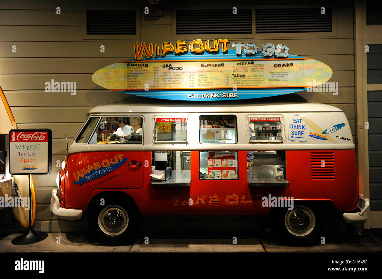 Wipeout To Go takeaway in an old VW bus, Pier 39, Fisherman's Wharf, San Francisco, California, United States of America, USA - Stock Image