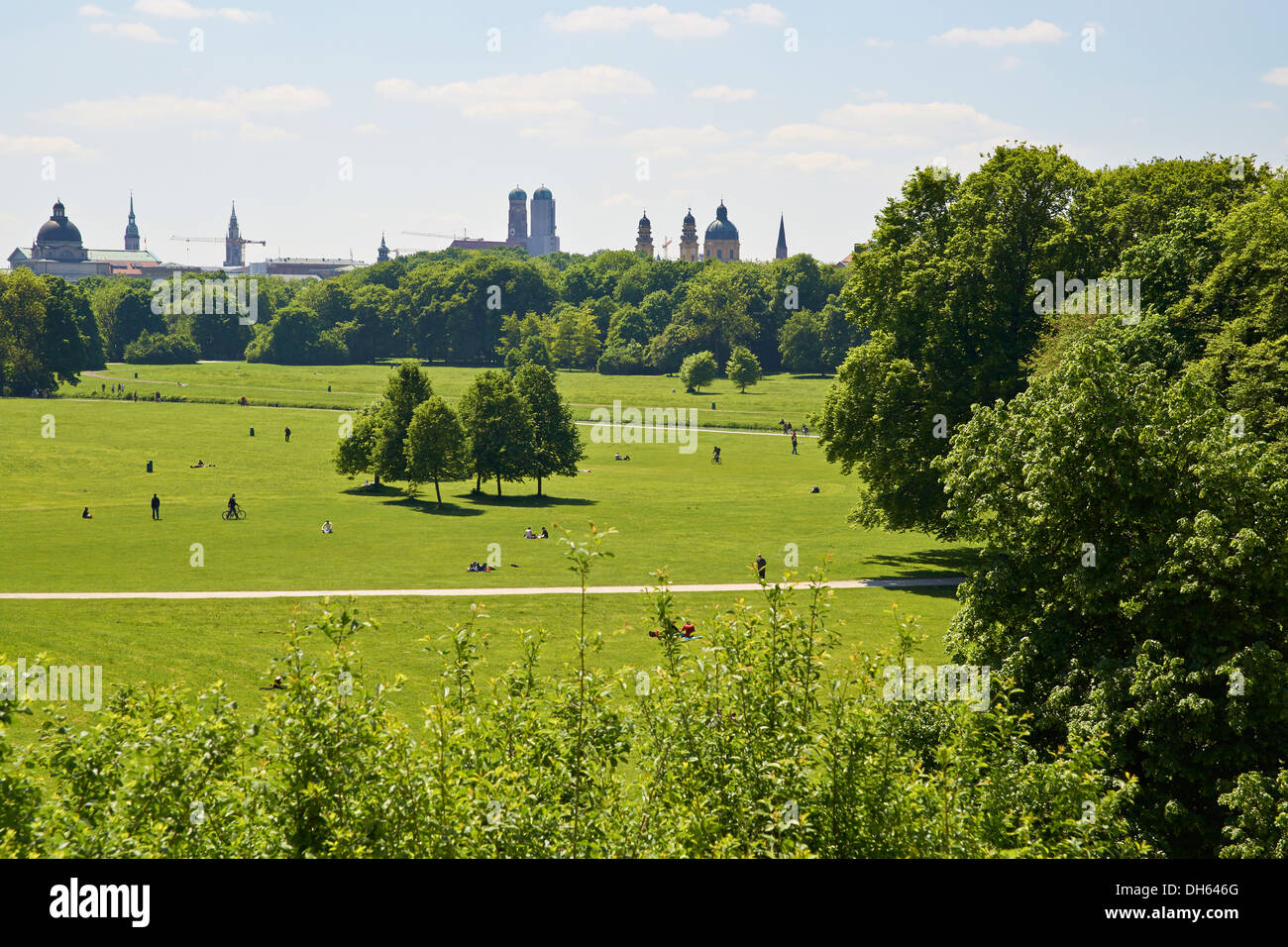View over the Englischer Garten park - Stock Image