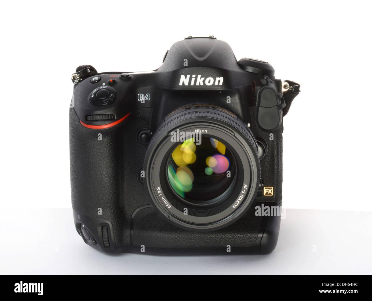 Professional camera, D-SLR Nikon D4 2012 Stock Photo