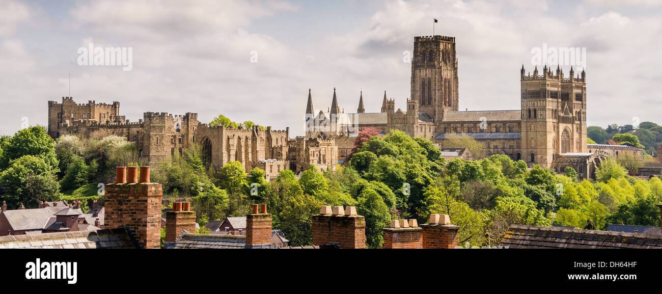 Durham Cathedral and Durham Castle panorama taken from Durham train station, Durham, England, UK Stock Photo