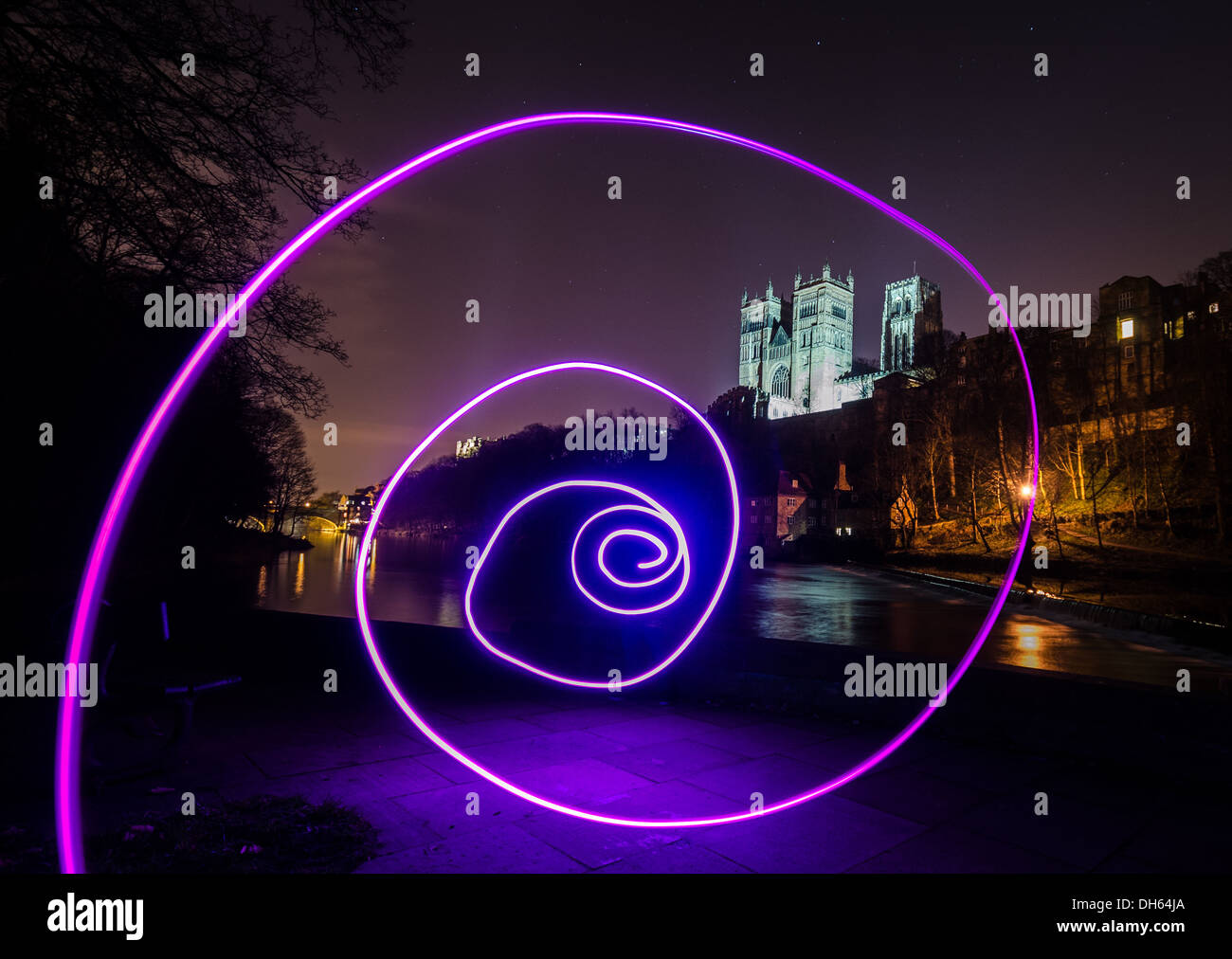 Durham cathedral and castle and light painting - Stock Image