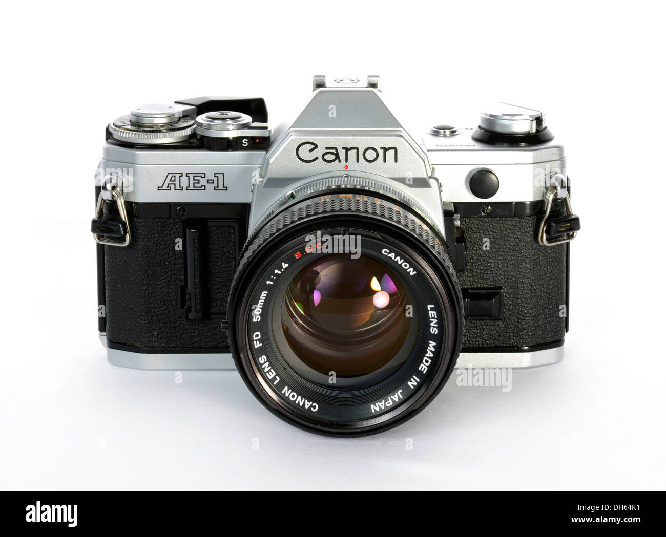 Analogue SLR Canon AE-1 with a FD 50mm 1:1.4 S.S.C. lens, milestone in film camera history - Stock Image
