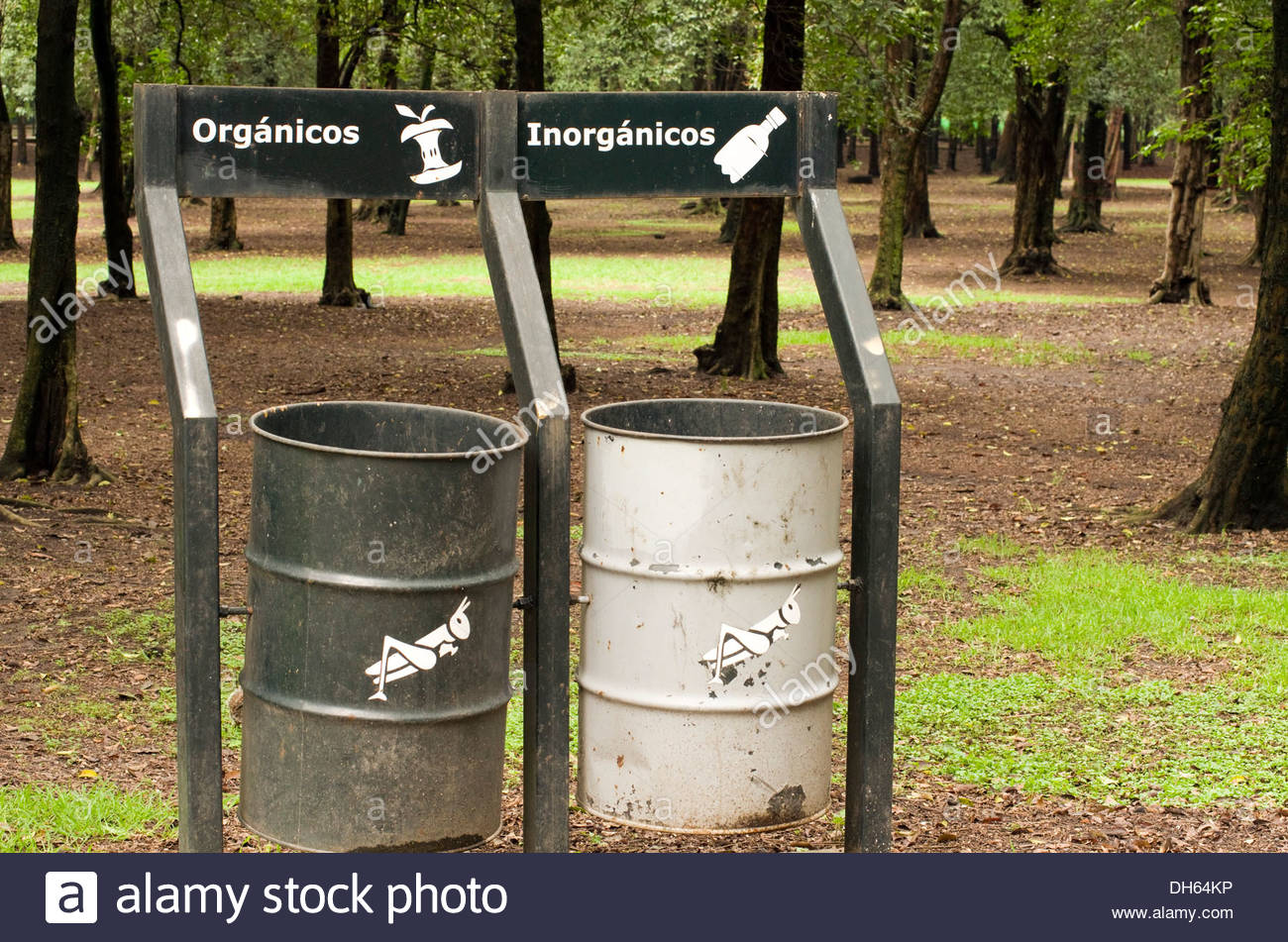 Recycle and non-recycle trash cans in Chapultepec Park in Mexico City. - Stock Image