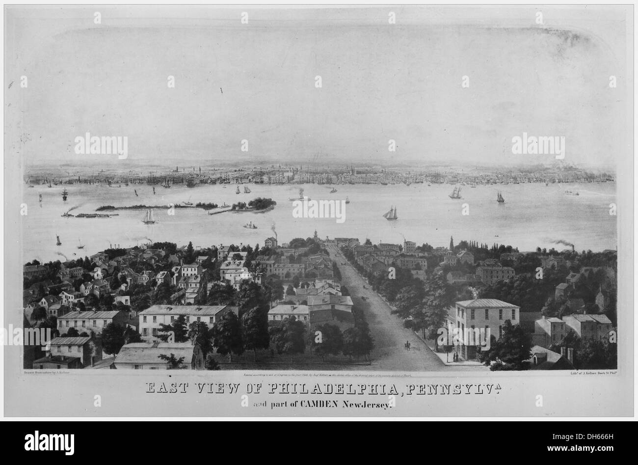 East View of Philadelphia, Pennsylvania, and part of Camden, New Jersey , ca. 1836 - Stock Image