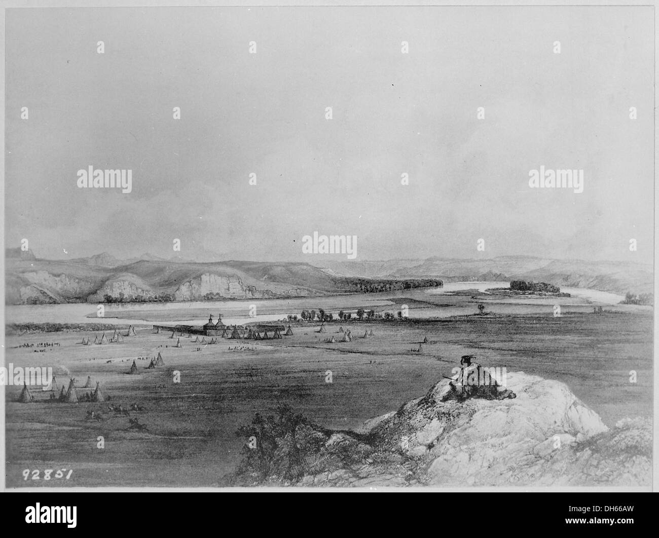 Fort Pierre (South Dakota) and the Adjacent Prairie , 1832 - 1834 530981 - Stock Image