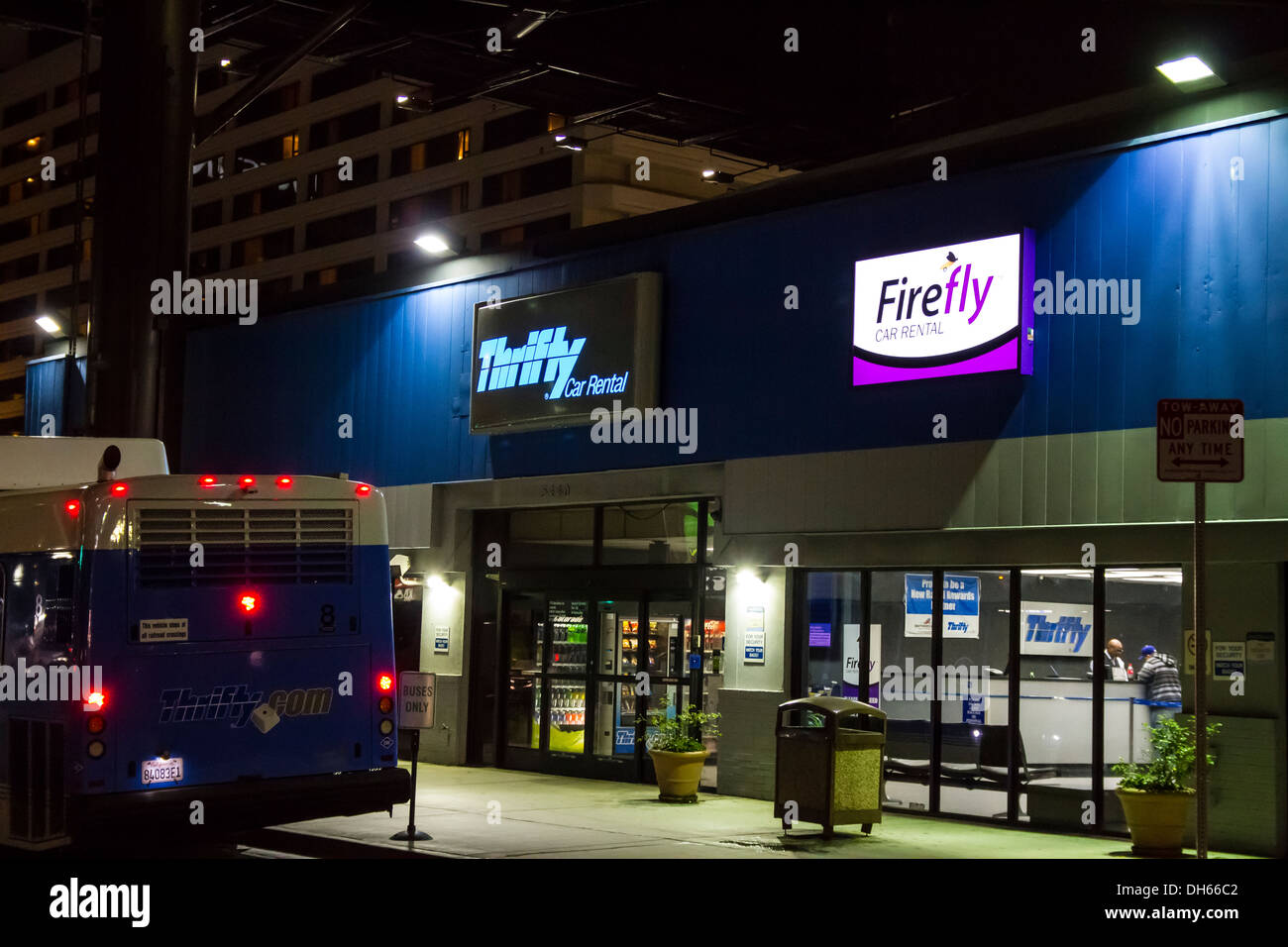 A Thrifty Car Rental and Firefly car rental offices at LAX Los Angeles International Airport - Stock Image