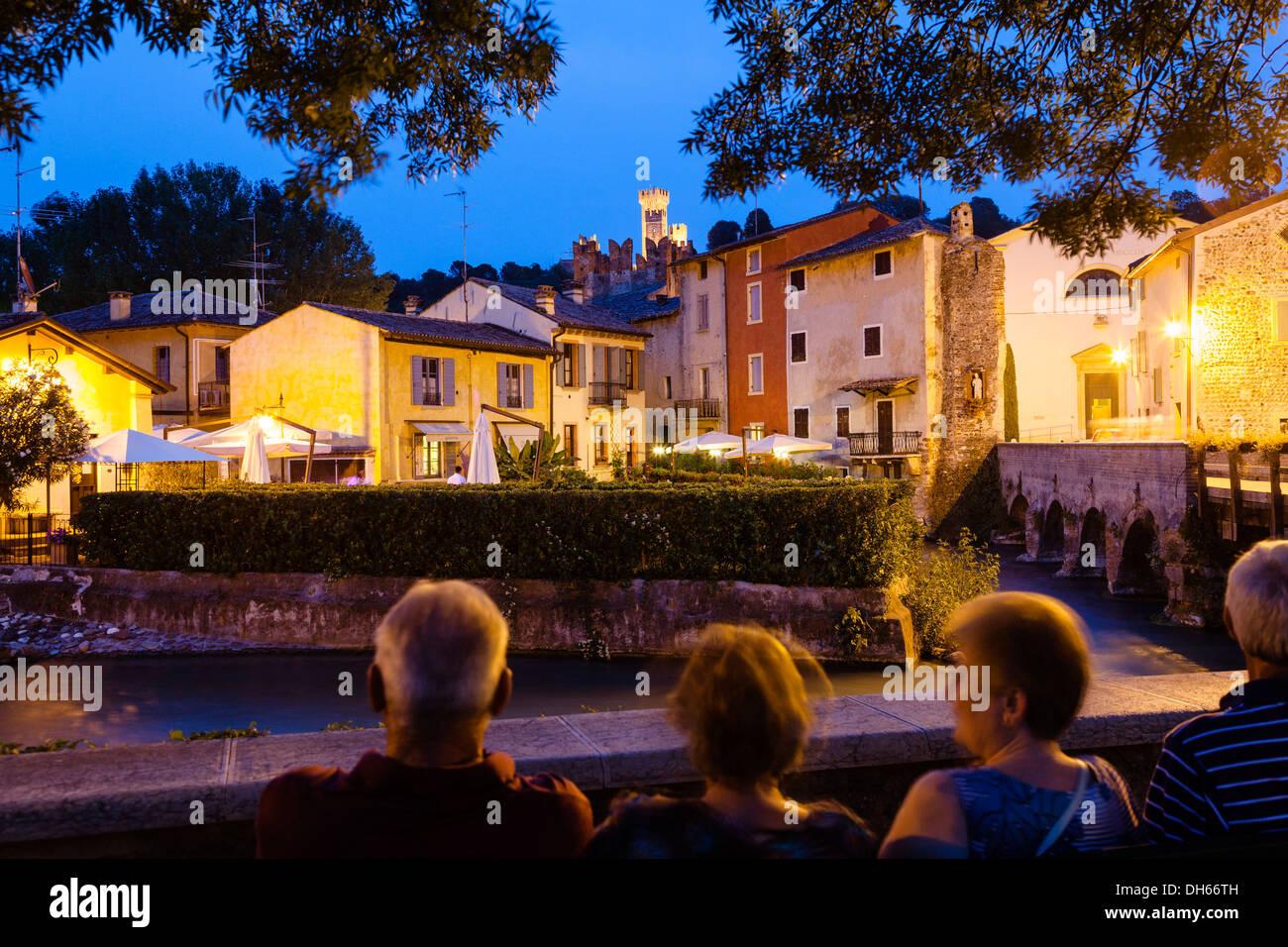Borghetto at dusk, Borghetto, Valeggio sul Mincio, Veneto Region, Italy Stock Photo
