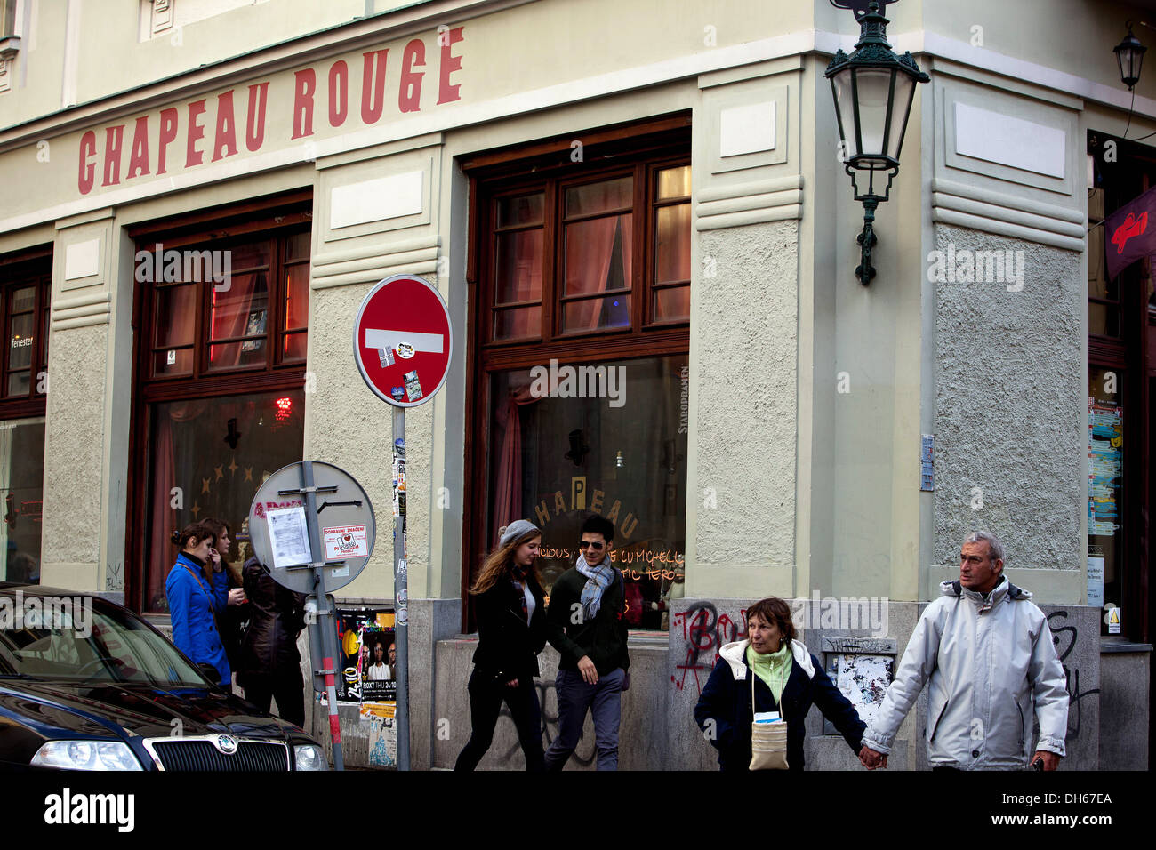 Restaurant Chapeau Rouge, Old Town, Prague Czech  Republic - Stock Image