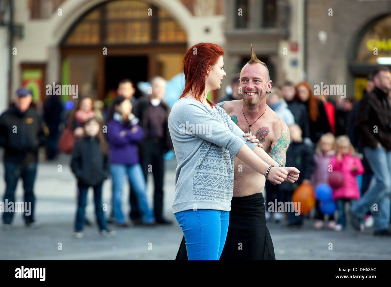 Performer on the street showing his art for people and entertain the audience Prague Old Town Square Czech Republic, Stock Photo