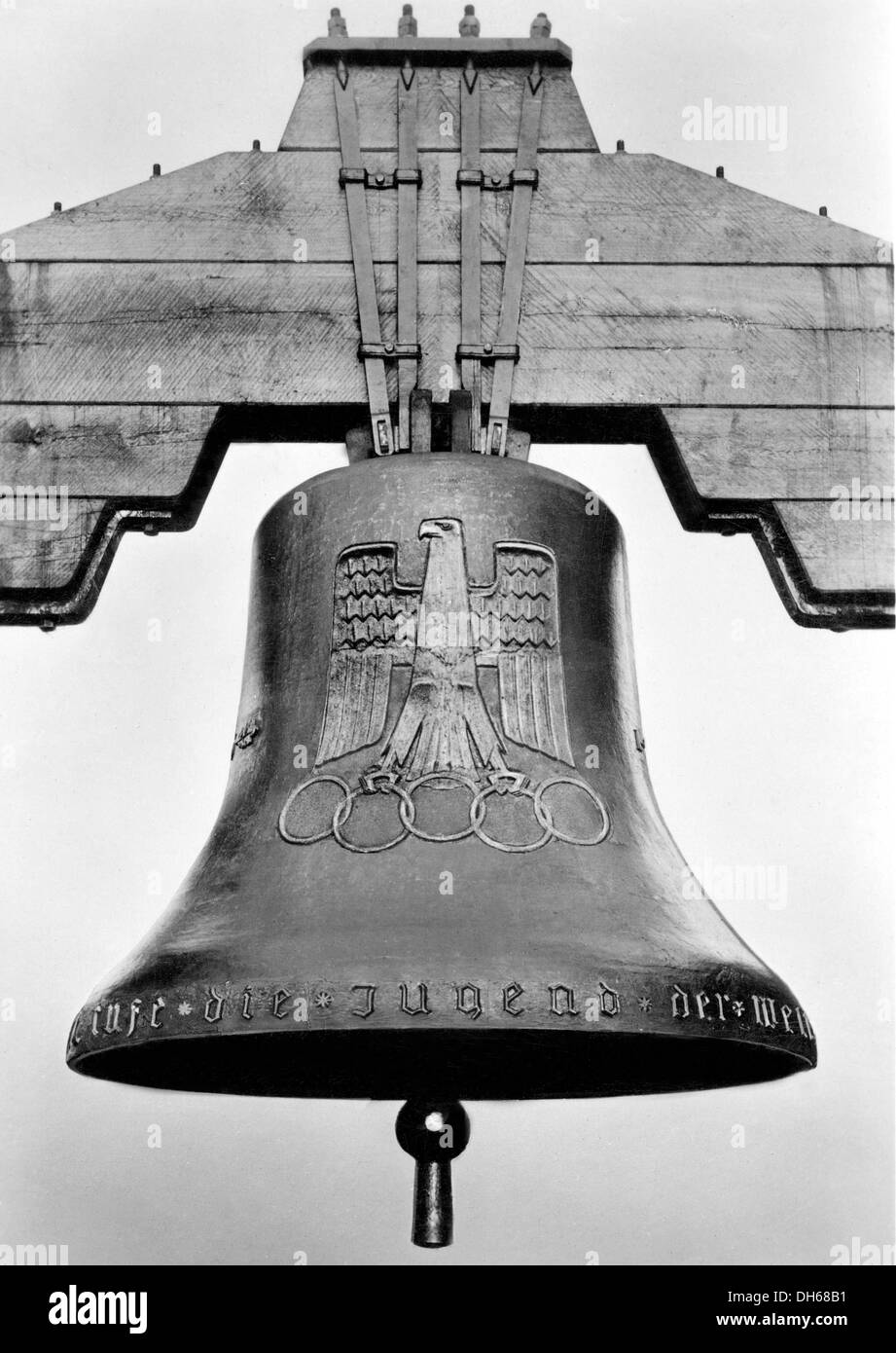 Bell at Olympic Stadium, historical image, 1936 Olympic Games, Berlin, Germany - Stock Image