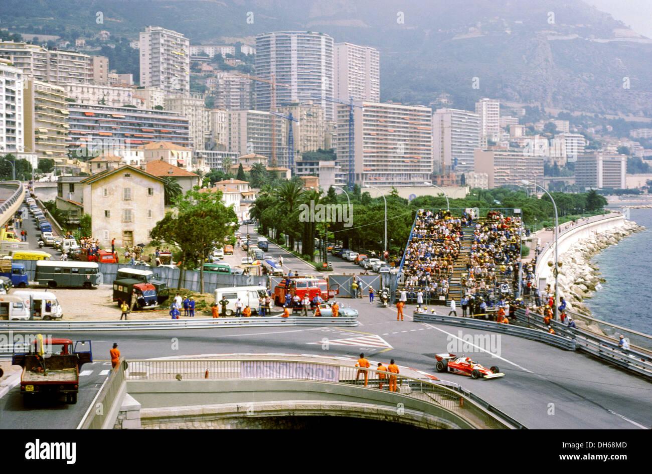 View of the Monaco GP street circuit, 1976. - Stock Image