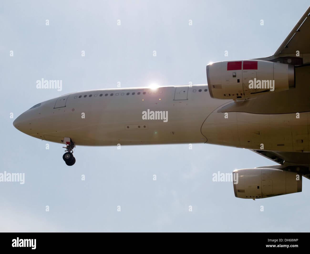 detail of landing airplane - side view - Stock Image