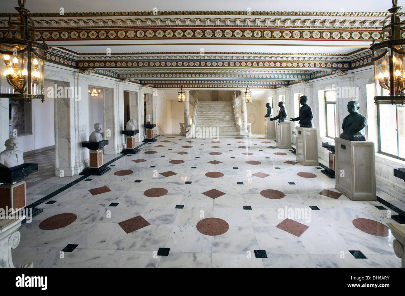 Hall with busts, Puerto Rico Capitol Building (1929), San Juan, Puerto Rico - Stock Image