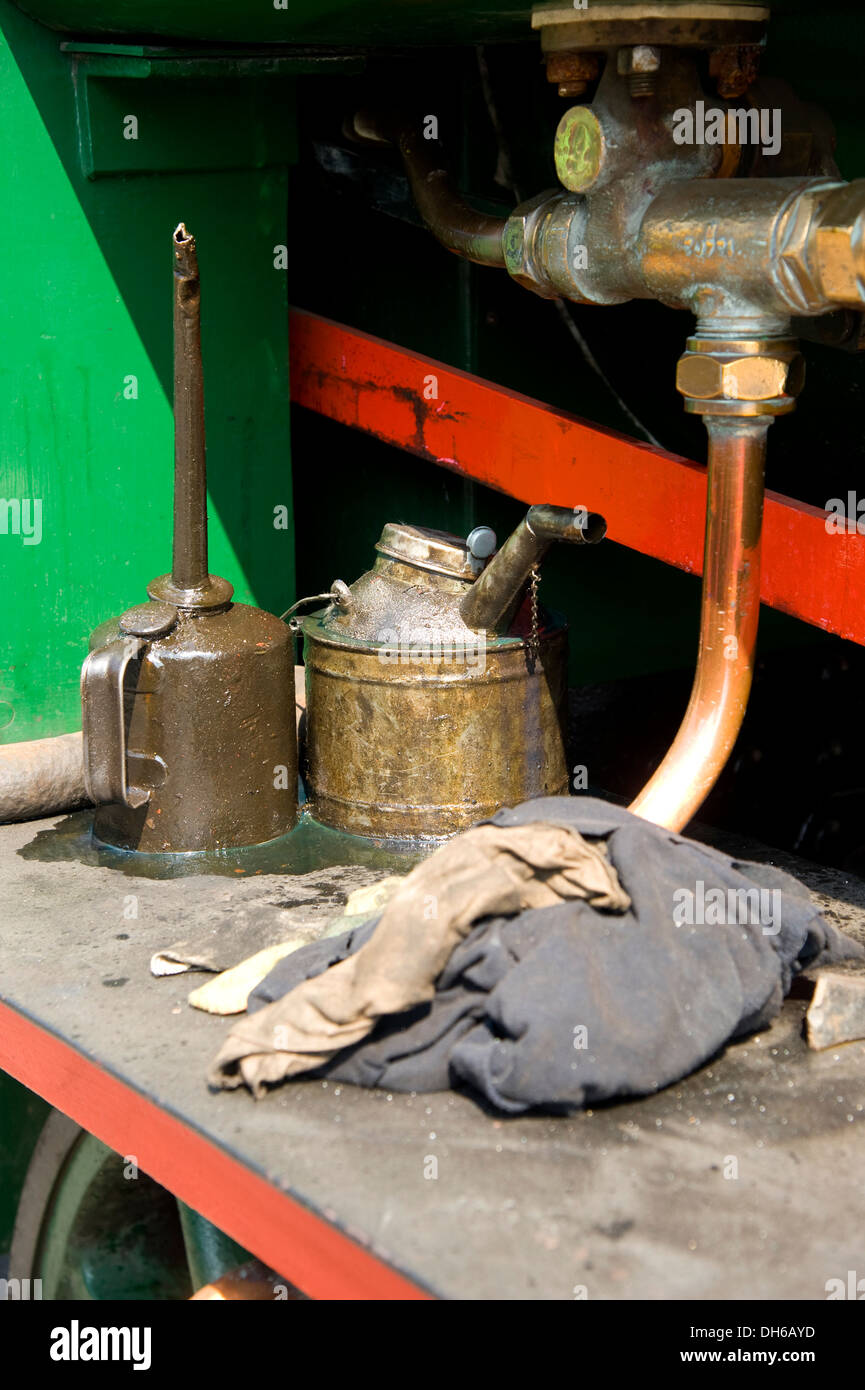 Detail of rags and oil can on a vintage railway steam train. - Stock Image