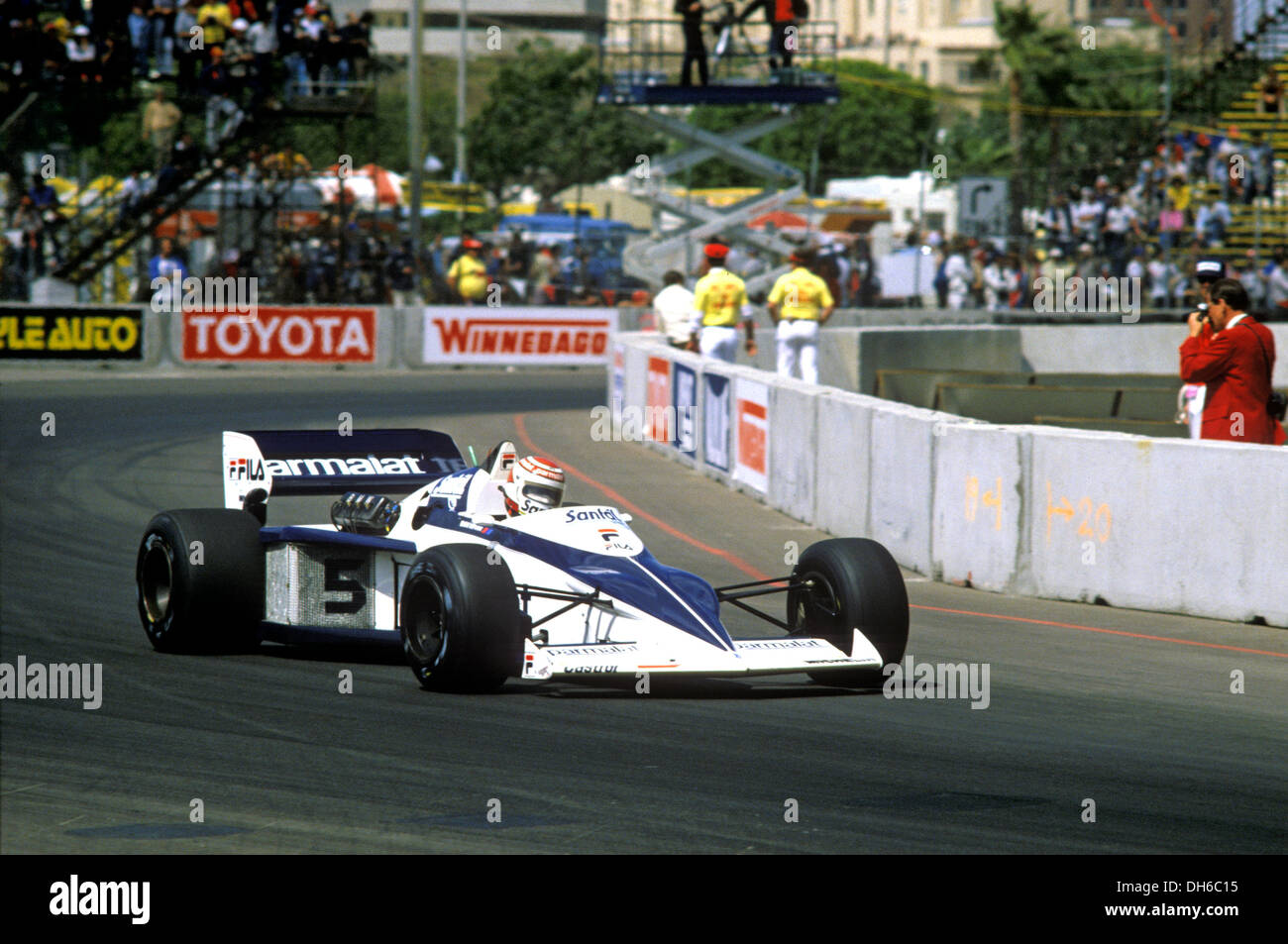 Nelson Piquet in Brabham BMW engined BT52 at the US GP Long Beach ...