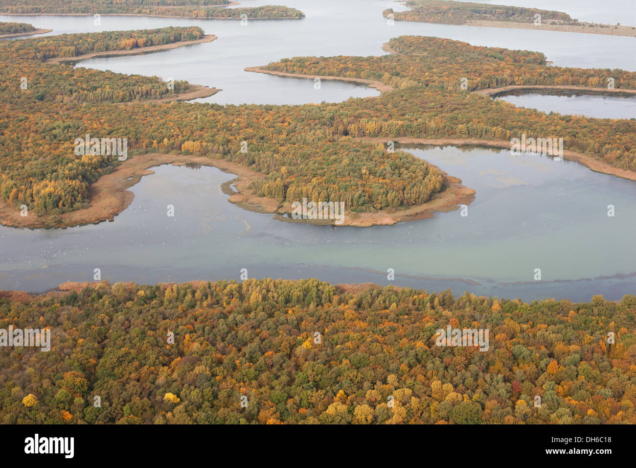 LAKE MADINE (aerial view). Reservoir near the village of Montsec, Meuse, Lorraine, France. - Stock Image