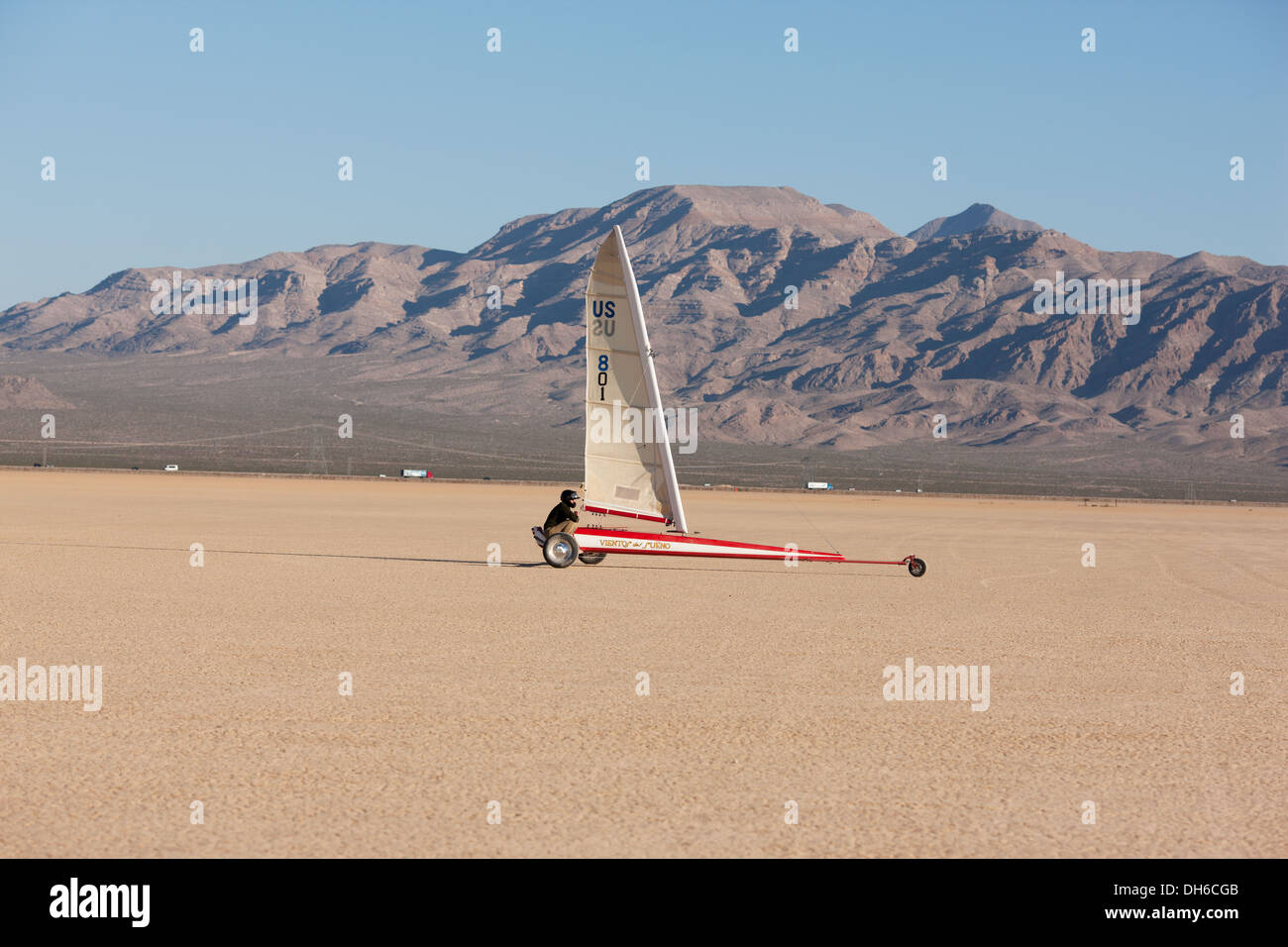 LANDSAILING ON A DRY LAKE Ivanpah dry lake near Primm, at the California / Nevada border, USA. Stock Photo