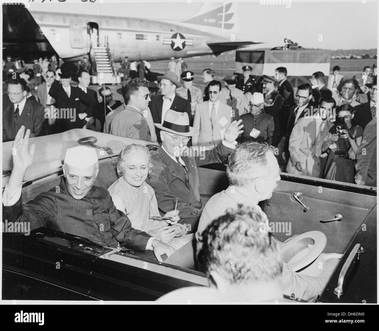 Photograph of President Truman and Indian Prime Minister Jawaharlal Nehru, with Nehru's sister, Madame Pandit, - Stock Image
