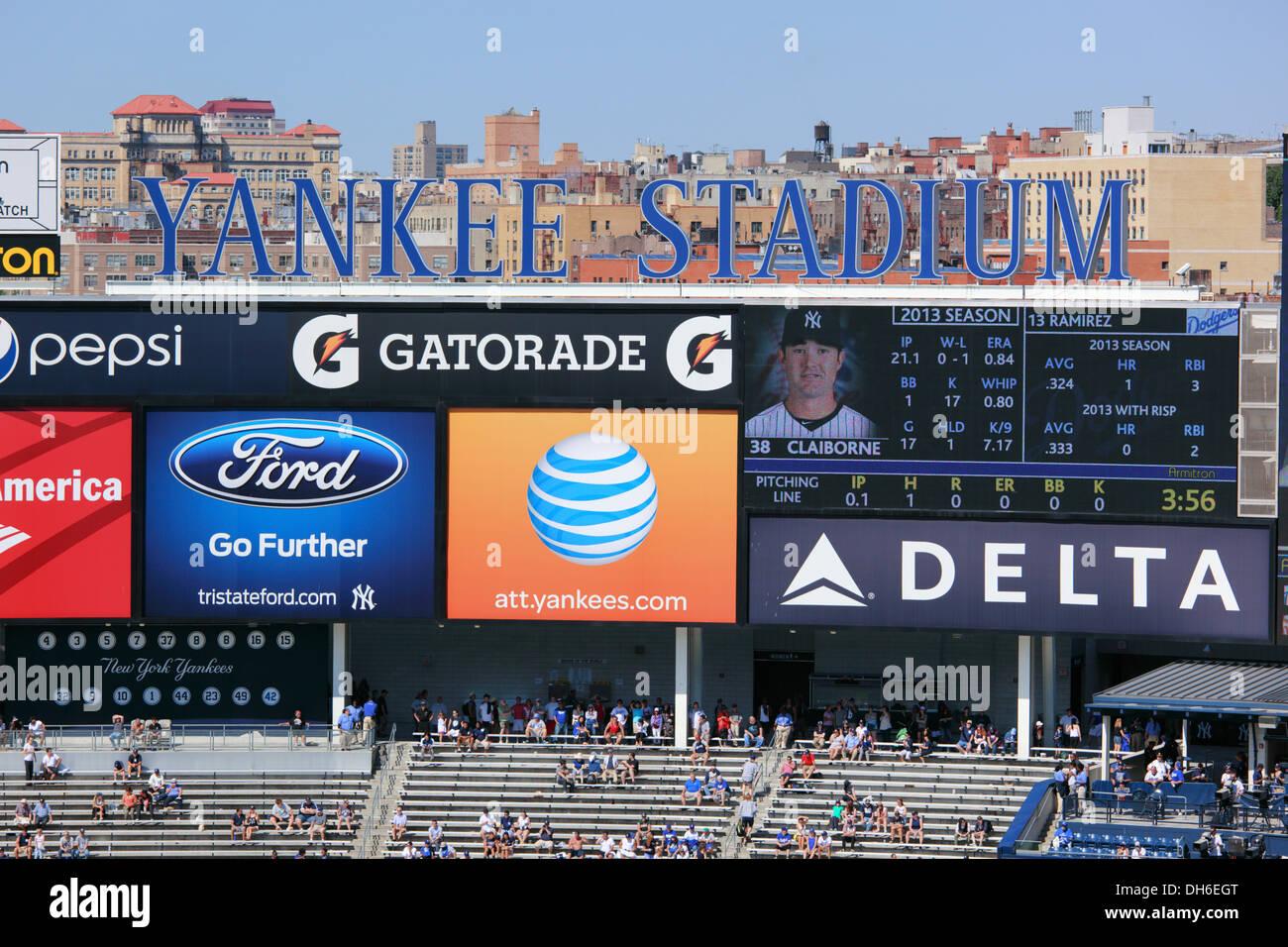 Scoreboard at Yankee Stadium, The Bronx, New York, USA ...  Yankees