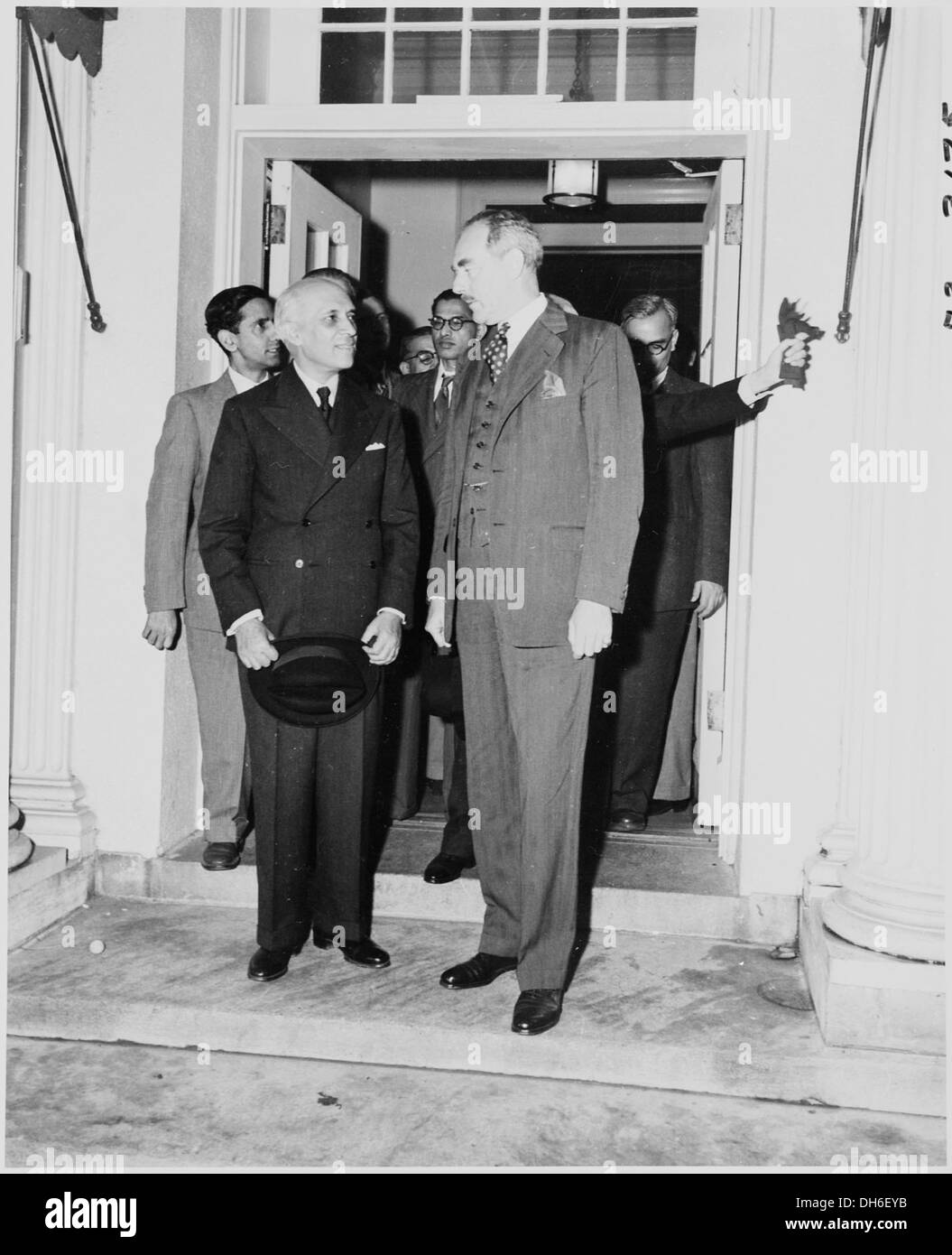 Photograph of Prime Minister Jawaharlal Nehru of India with Secretary of State Dean Acheson. 200157 - Stock Image