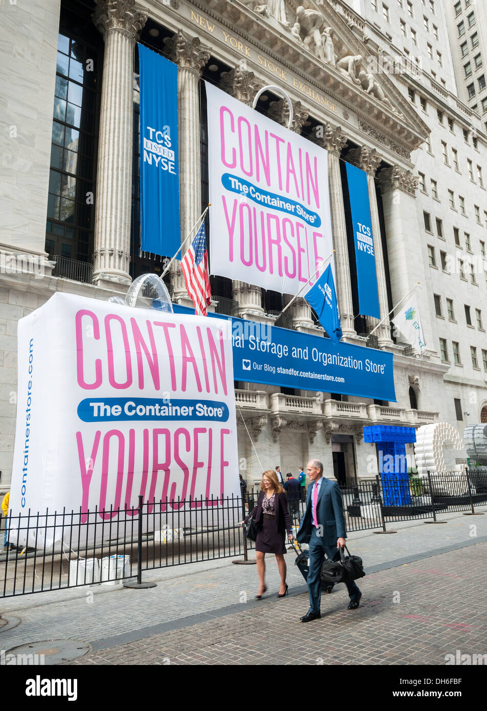 The New York Stock Exchange is decorated for The Container Store's initial public offering (IPO) - Stock Image