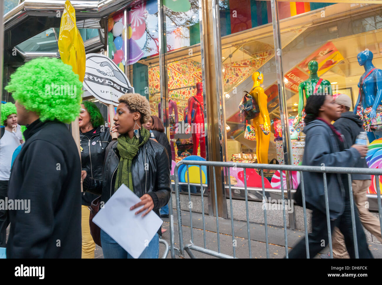 Protest in front of Dylan's Candy Bar in the Upper East Side neighborhood of New York Stock Photo