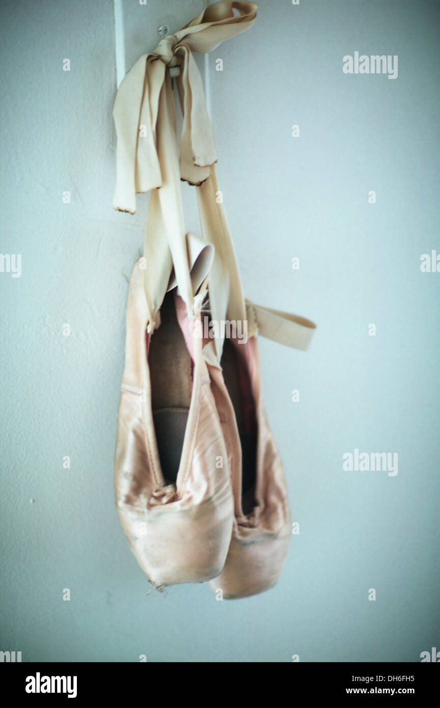 Ballet shoes for sale. Much used, sadly abused, certainly misused. - Stock Image