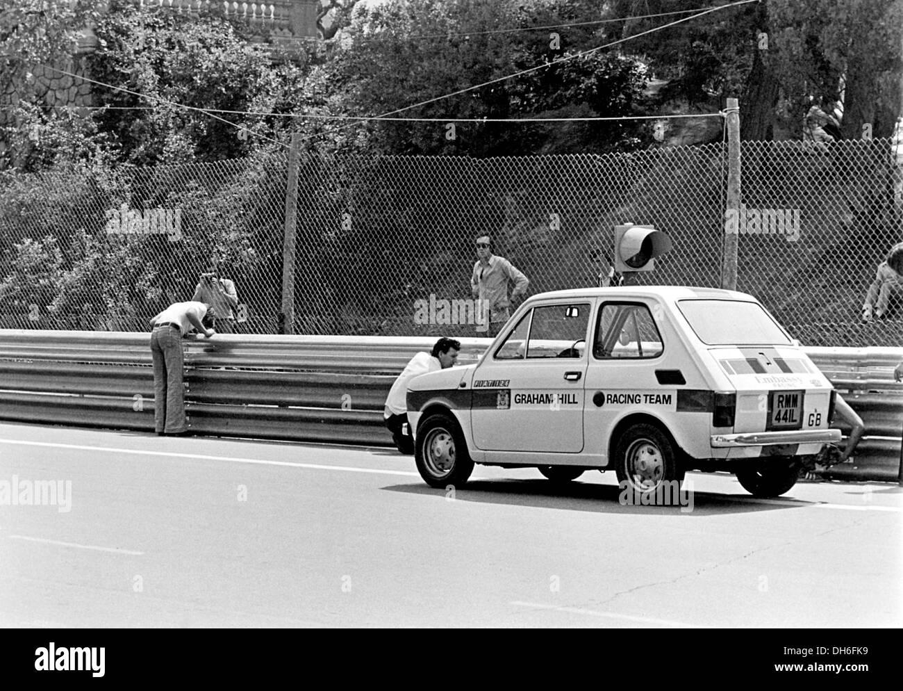 Graham Hill Racing Team's Fiat 126 car at the Spanish GP, Barcelona, Spain 1975. - Stock Image