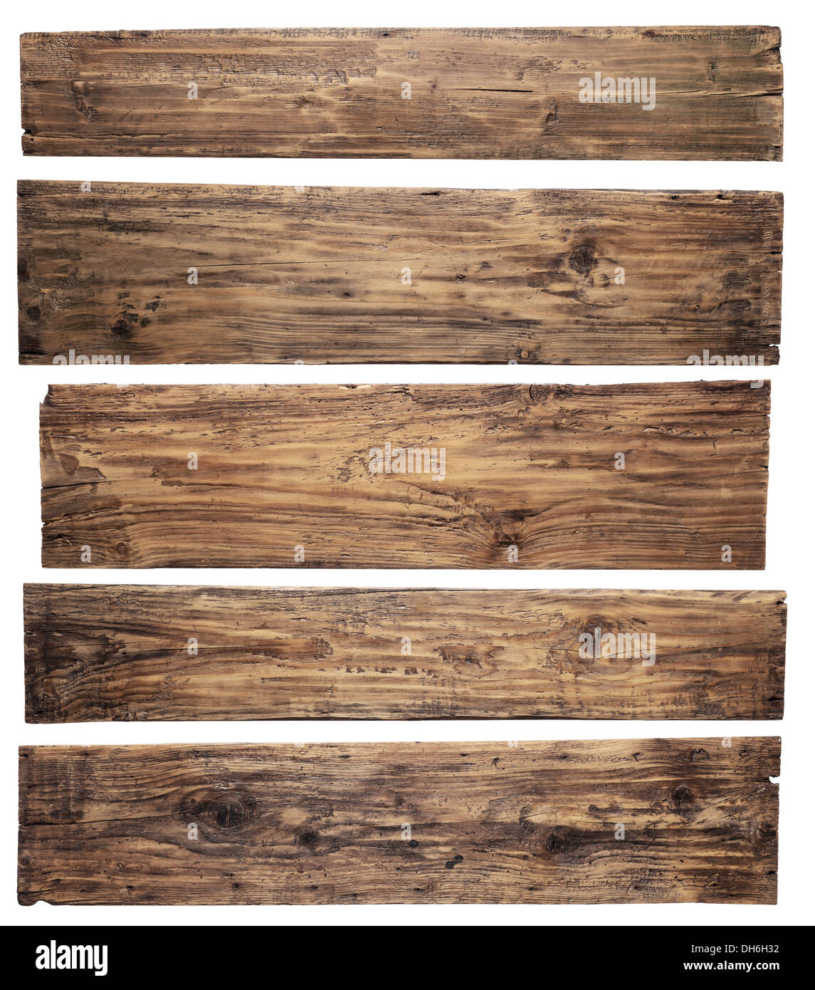 Old wooden planks isolated on white background - Stock Image