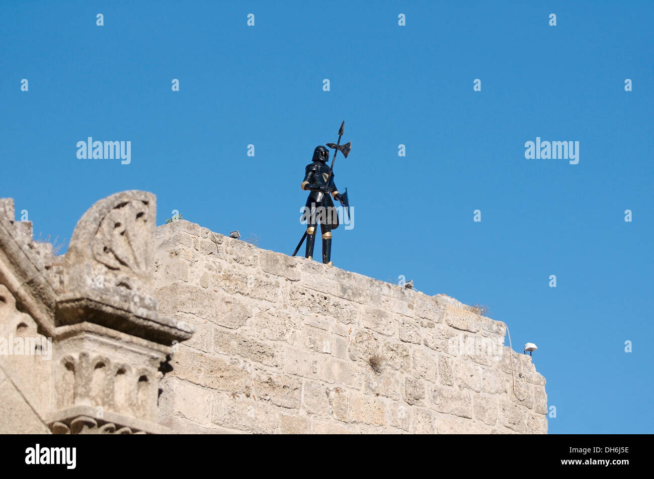 knight standing on the castle wall, island Rhodes, Greece - Stock Image