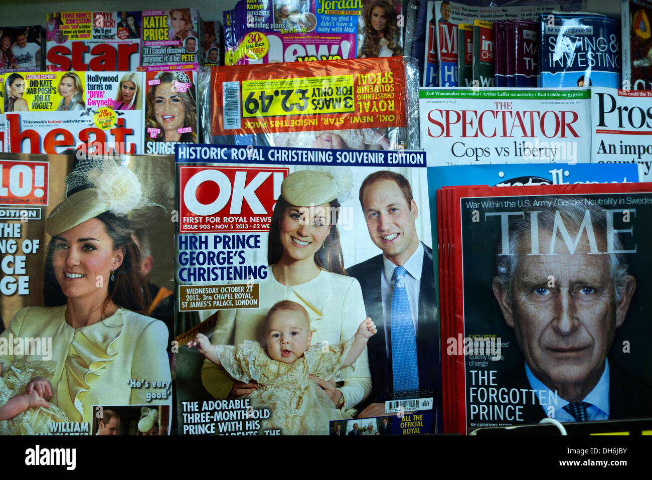 OK and Hello magazines with Royals Prince William and Kate and new baby Prince George at his christening and Prince - Stock Image