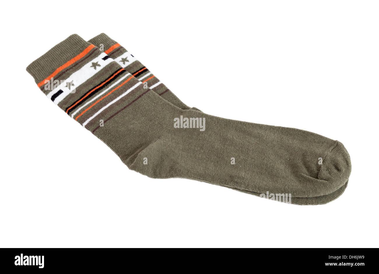 Pair of fashionable socks isolated on white background - Stock Image