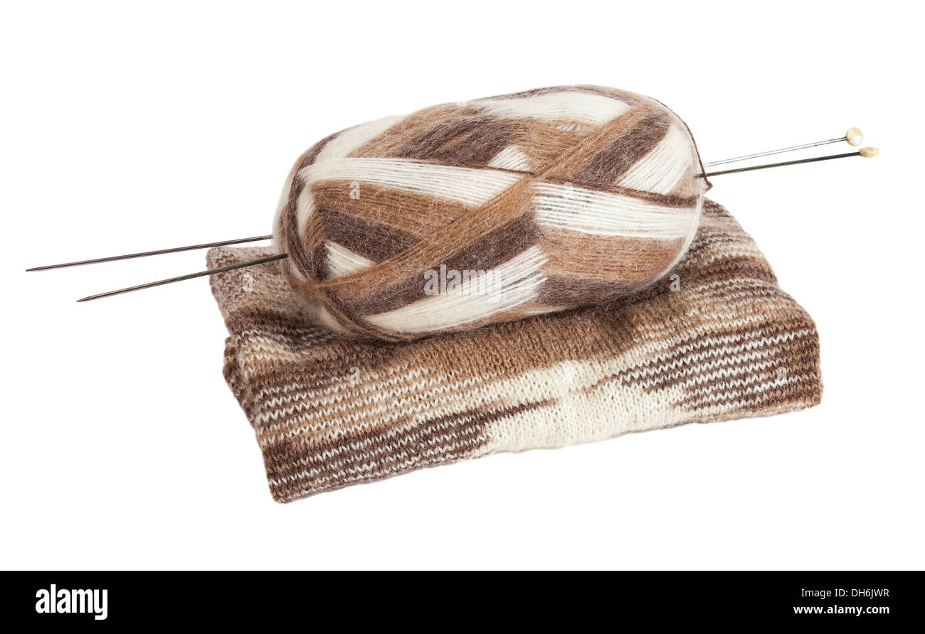 Skein of wool yarn for knitting and needles - Stock Image
