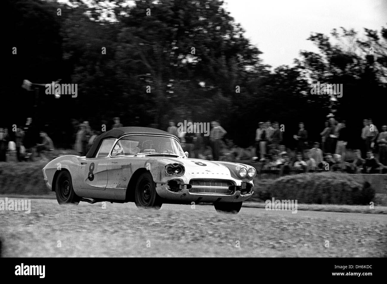 Alan Markelson's Chevrolet Corvette in RAC TT, repeatedly black-flagged for dropping oil. Goodwood, England 19th August 1961. - Stock Image