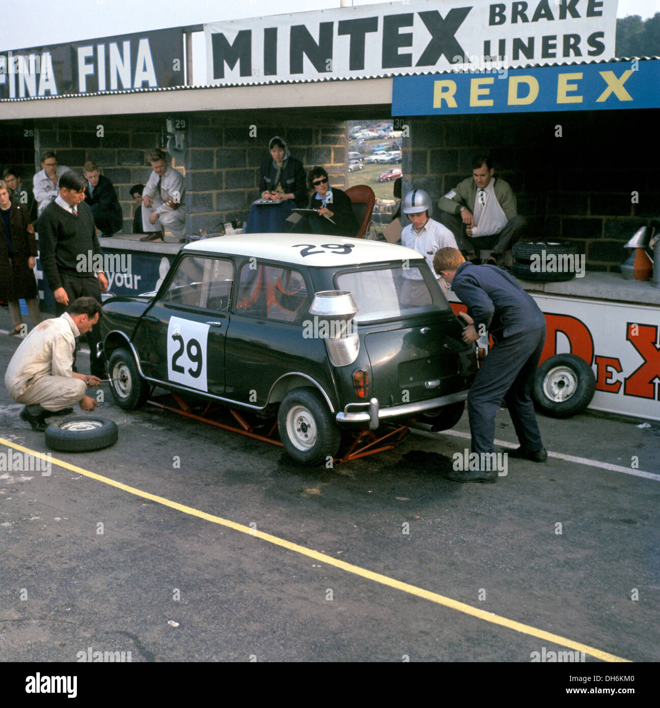 john whitmore bill blydensteins mini cooper in motor six hours race at brands hatch england 6th october 1962