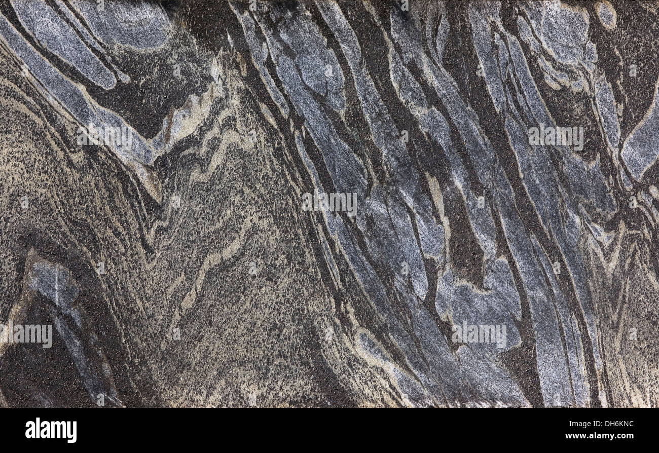 Comparison half of core slab showing folded Banded Iron Formation or BIF in green schist from gold mining exploration project - Stock Image