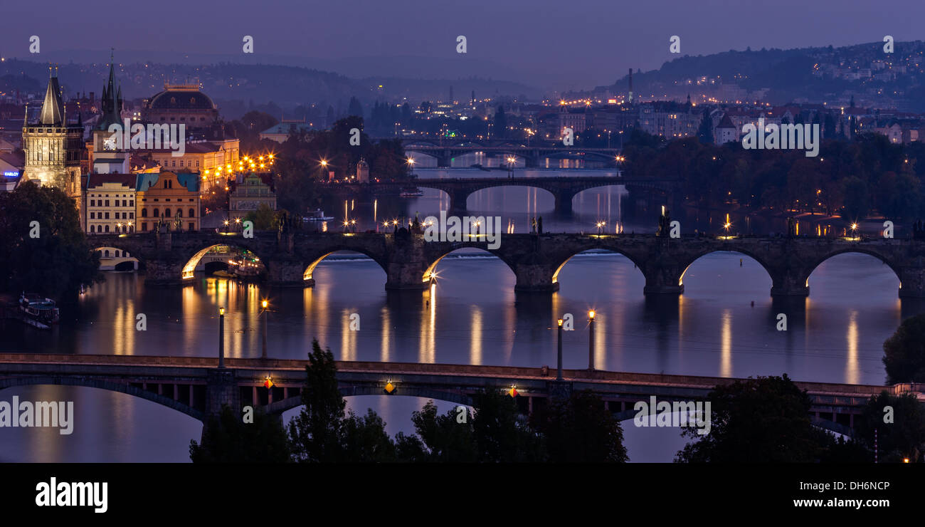 View to Prague bridges over Vltava river in the evening Stock Photo