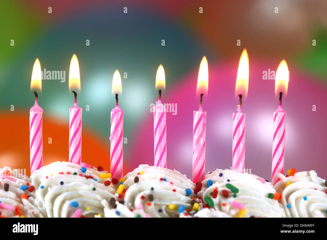 Surprising Happy Birthday Celebration With Balloons Candles And Cake Stock Funny Birthday Cards Online Elaedamsfinfo